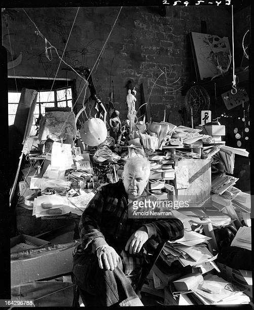 Portrait of American sculptor Alexander Calder in his studio Woodbury Connecticut January 3 1957