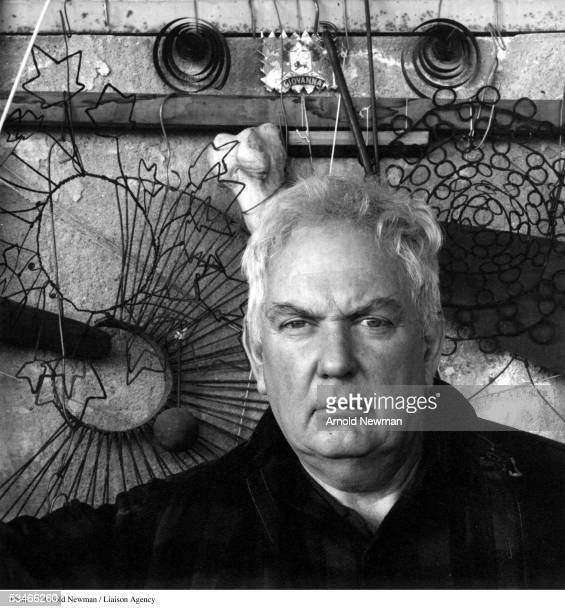 Portrait of American sculptor Alexander Calder January 3 1957 in his studio in Woodbury Connecticut
