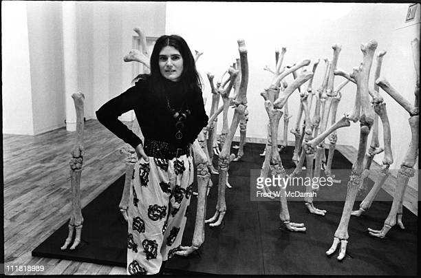 Portrait of American sculptor and painter Nancy Graves as she poses with one of her sculptures New York New York January 9 1971