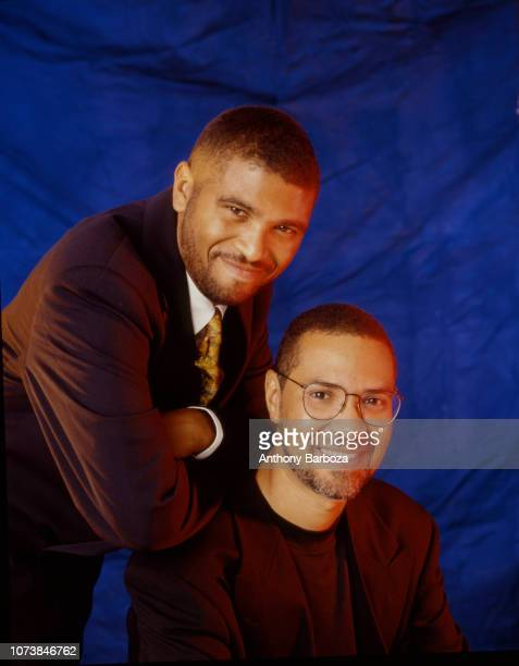 Portrait of American sibling film directors and producers Reginald Hudlin and Warrington Hudlin Jr as they pose together New York New York 1990