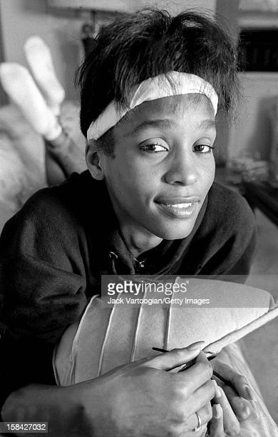 Portrait of American singer and actress Whitney Houston at her mother's home West Orange New Jersey May 28 1985