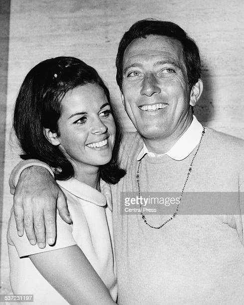 Portrait of American singer Andy Williams and his wife Claudine Longet at a press reception at the Savoy Hotel London May 16th 1968