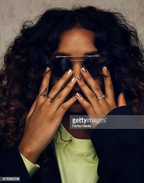 Portrait of American singer-songwriter H.E.R. Photographed at the QT Hotel in Sydney on Monday 28th May 2018. H.E.R's real name is Gabriella 'Gabi'...