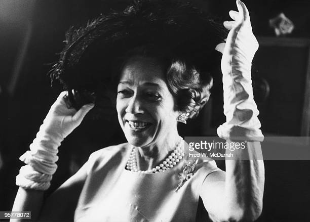 Portrait of American socialite and philanthropist Brooke Astor as she adjust her hat at an event in Central Park New York New York January 18 1967...