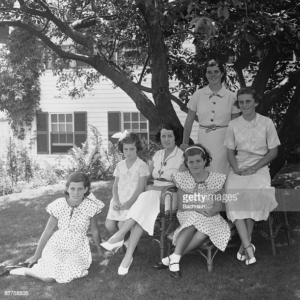 Portrait of American socialite and philanthropist Rose Kennedy as she poses with her daughters from left Eunice Kennedy Jean Kennedy Patricia Kennedy...
