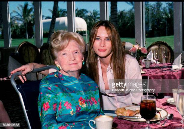 Portrait of American socialite Mary Trump and her future daughterinlaw former model Melania Knauss as they pose together in the tea house of the...