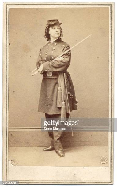 Portrait of American spy and actress Major Pauline Cushman as she poses in uniform with her sword over her crossed arms 1860s Cushman served as a...