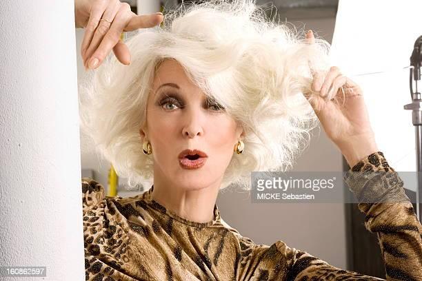 Portrait of American supermodel Carmen Dell'Orefice photographed in New York Styling Rick Ramsey Makeup Yuko Takahashi