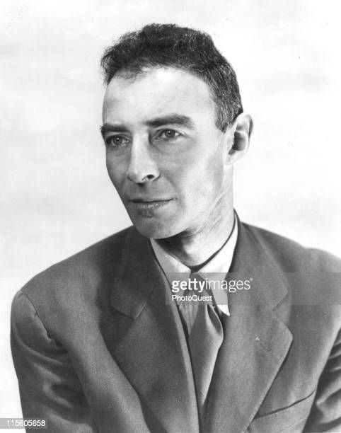 Portrait of American theoretical physicist Dr J Robert Oppenheimer 1945