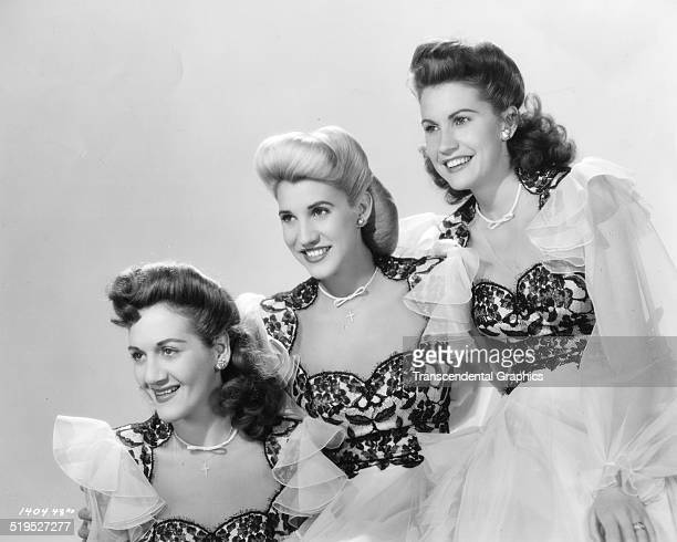 Portrait of American vocal group the Andrews Sisters from left LaVerne Patty and Maxene Andrews mid 1940s