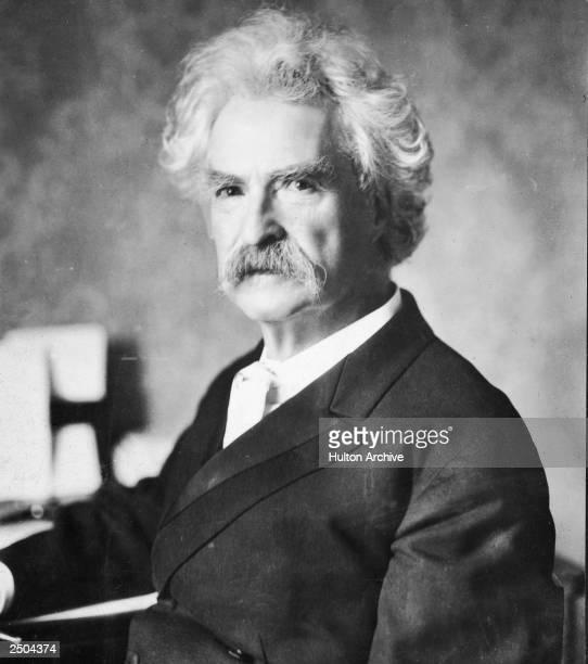 A portrait of American writer Mark Twain circa 1900