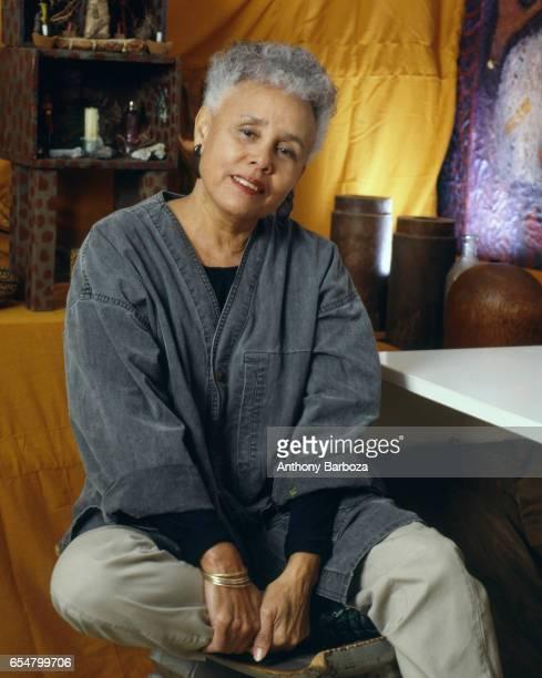 Portrait of Americna artist Betye Saar as she poses in her studio New York New York 1980s