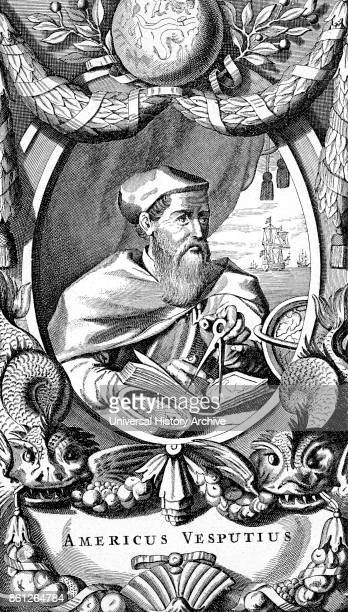 Portrait of Amerigo Vespucci an Italian explorer financier navigator and cartographer Dated 16th Century