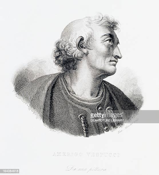 Portrait of Amerigo Vespucci Italian navigator explorer and cartographer Engraving