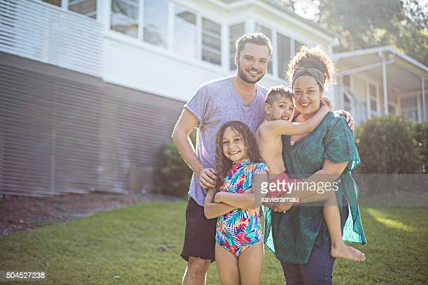 portrait of an aboriginal family at home - family at home stock photos and pictures
