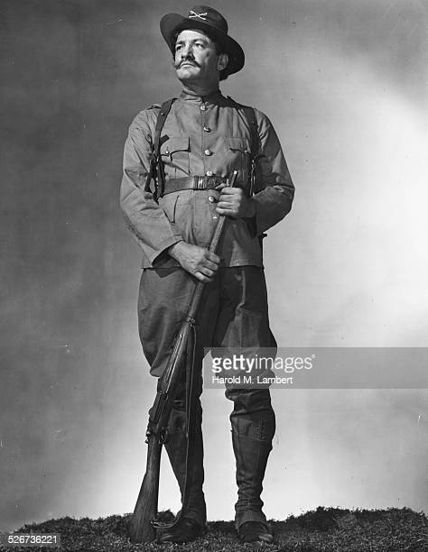 Portrait of an actor wearing the uniform of a Spanish American War soldier circa 1950