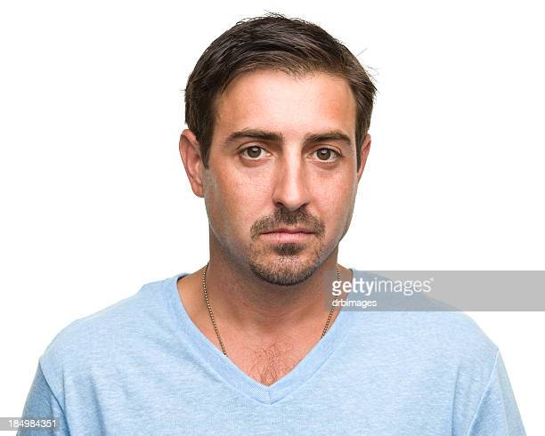 a portrait of an adult caucasian man with a blank expression - hair parting stock photos and pictures