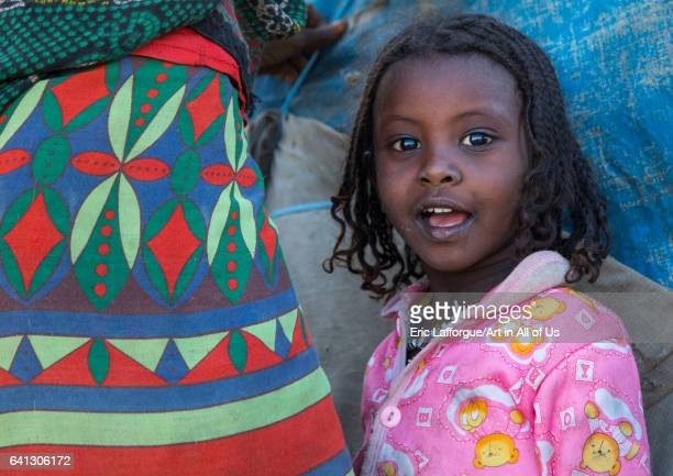 Portrait of an Afar tribe girl with braided hair on January 14 2017 in Mile Ethiopia
