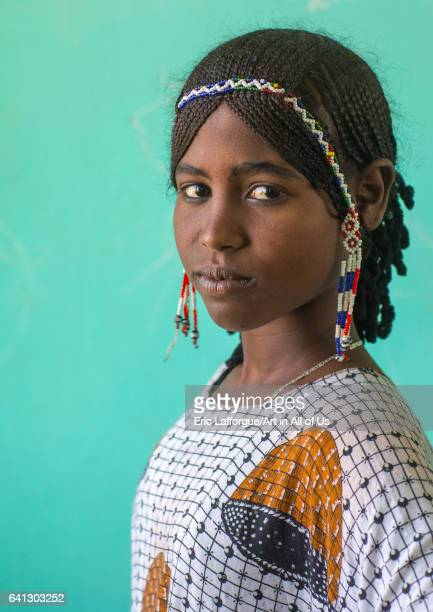 Portrait of an Afar tribe girl with braided hair on January 16 2017 in Semera Ethiopia