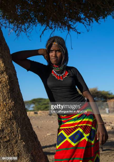 Portrait of an Afar tribe girl with braided hair on January 17 2017 in Chifra Ethiopia