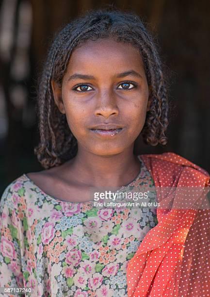 Portrait of an afar tribe teenage girl afar region afambo Ethiopia on February 29 2016 in Afambo Ethiopia