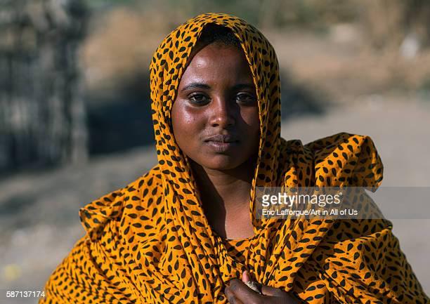 Portrait of an afar tribe woman afar region afambo Ethiopia on February 29 2016 in Afambo Ethiopia