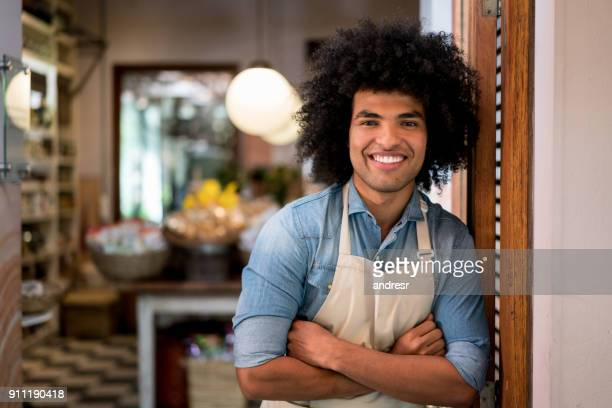Portrait of an African American man working at a grocery store