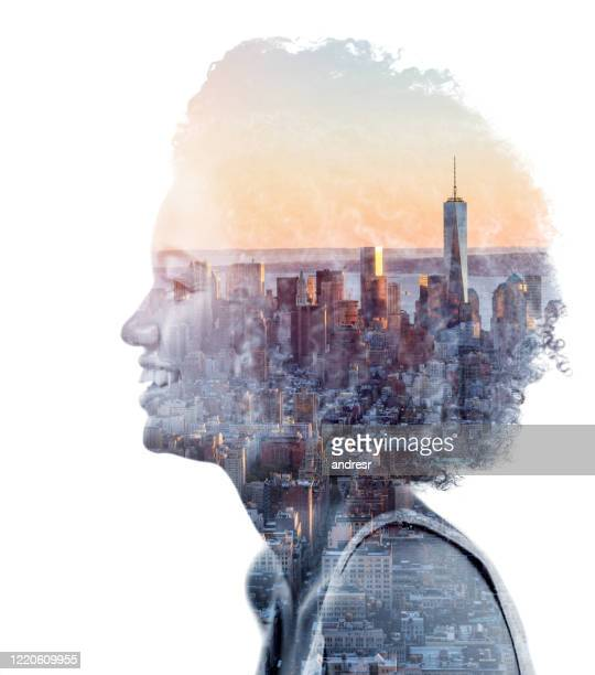 portrait of an african american woman from new york city - multiple exposure stock pictures, royalty-free photos & images