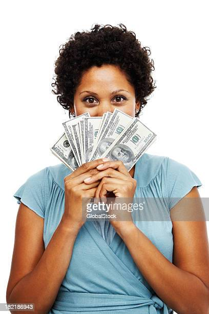 Portrait of an African woman holding US paper currency
