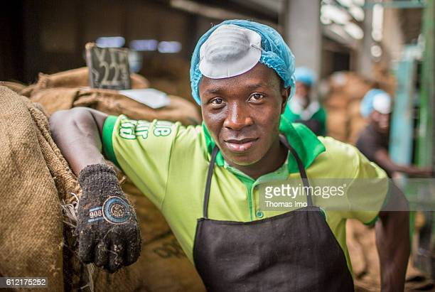 Portrait of an African worker in the MIM cashew processing company on September 07 2016 in Mim Ghana