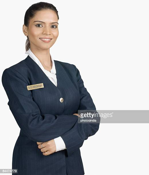 Portrait of an air hostess smiling
