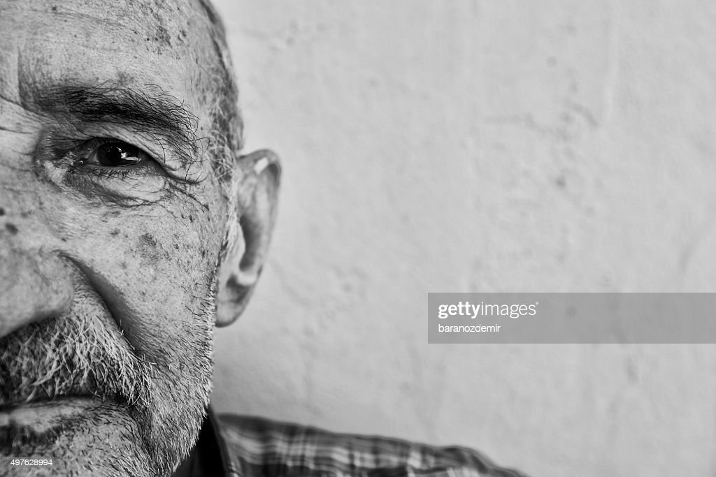 Portrait of an Alzheimer's Patient, Close-up : Stock Photo