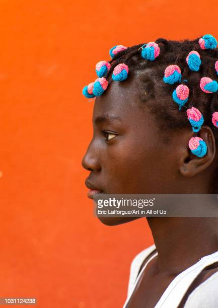 Portrait of an angolan girl with hair scrunchies Benguela Province Catumbela Angola on July 8 2018 in Catumbela Angola
