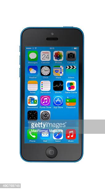 Portrait of an Apple iPhone 5C smartphone photographed on a white background taken on September 20 2013