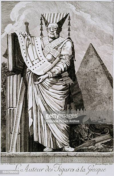 'Portrait of an Architect with an Architectural Motif from Masquerade a la Greque Drawn by Chevalier Ennemond Alexandre Petitot engraved by Benigno...