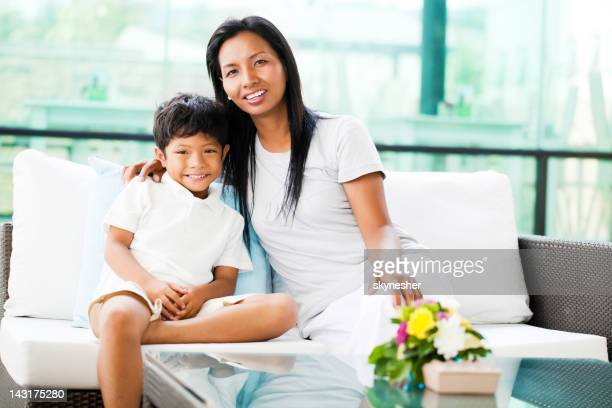 Portrait of an Asian mother and son.