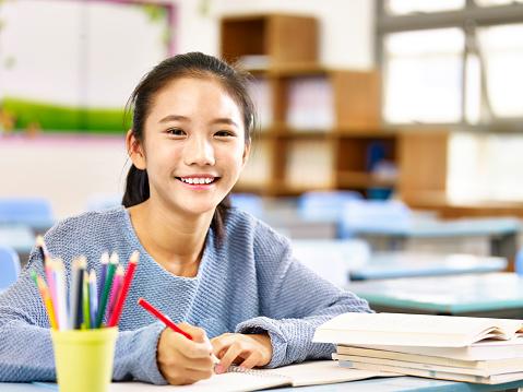 portrait of an asian schoolgirl 859277400