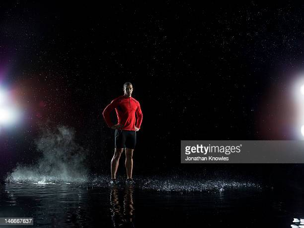 Portrait of an athlete standing in water