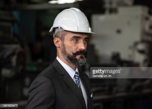 portrait of an attractive bearded factory manager man in nice suit with helmet or hardhat inside industrial factory - um animal stockfoto's en -beelden