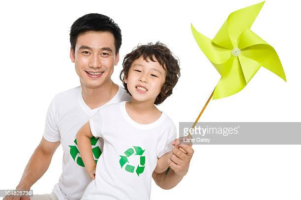 Portrait of an eco-friendly family