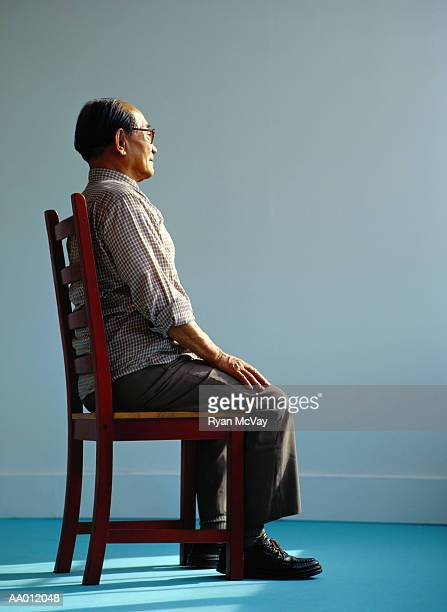 portrait of an elderly man sitting - good posture stock pictures, royalty-free photos & images