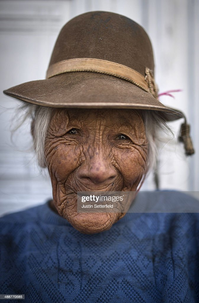 A portrait of an elderly Peruvian woman in a traditional hat on January 24, 2014 in Arequipa, Peru.