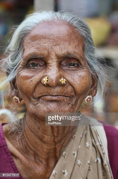 Portrait of an elderly Tamil Hindu woman at the Nataraja Temple complex in Chidambaram Tamil Nadu India The Chidambaram Nataraja temple or Thillai...