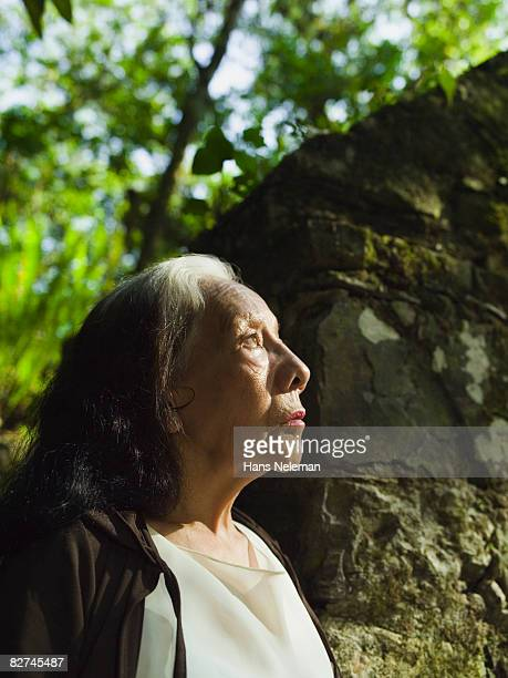 portrait of an elderly woman in the forest - las posas stock pictures, royalty-free photos & images
