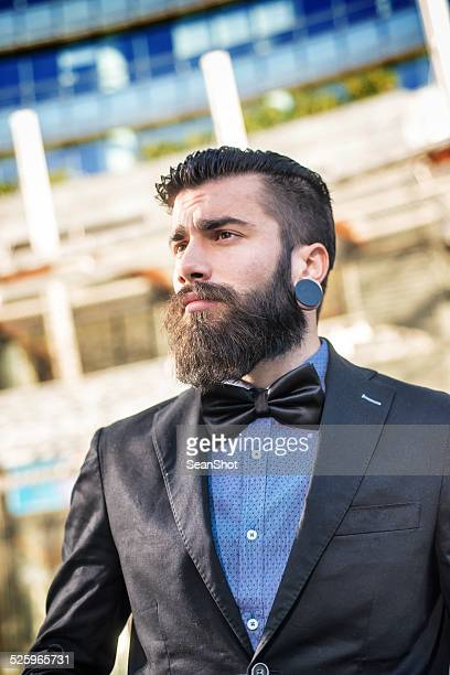 Retrato de un hombre de negocios elegante Hipster