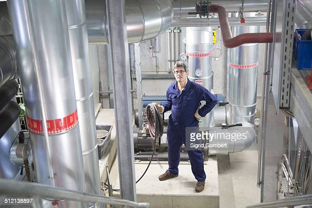 portrait of an engineer in power station - sigrid gombert stock pictures, royalty-free photos & images