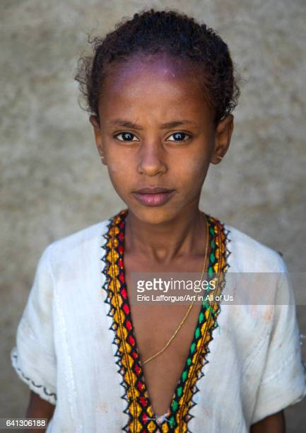 Portrait of an ethiopian child girl in traditional clothing on January 15 2017 in Assaita Ethiopia