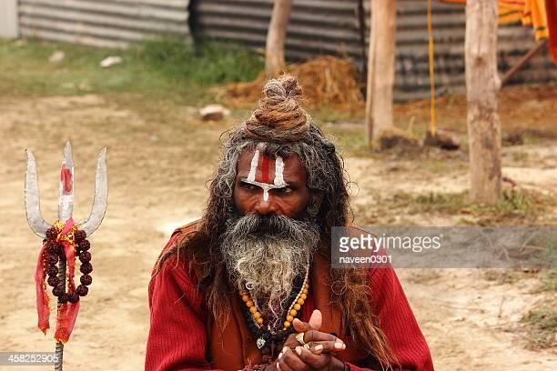 Portrait of an Indian Sadhu in Kumbh Mela - 2013