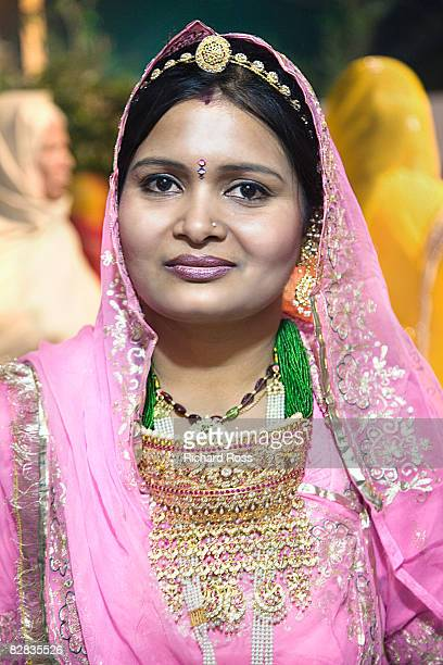 portrait of an Indian woman at an Indian wedding