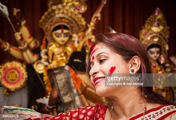 Portrait of an Indian Woman with Vermilion Powder in her Face